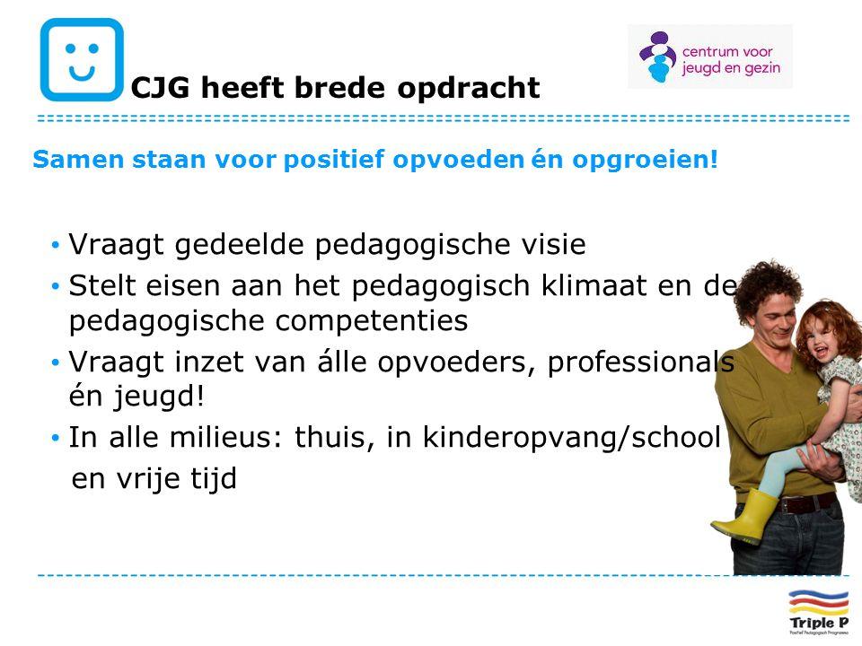 CJG heeft brede opdracht Samen staan voor positief opvoeden én opgroeien! Vraagt gedeelde pedagogische visie Stelt eisen aan het pedagogisch klimaat e