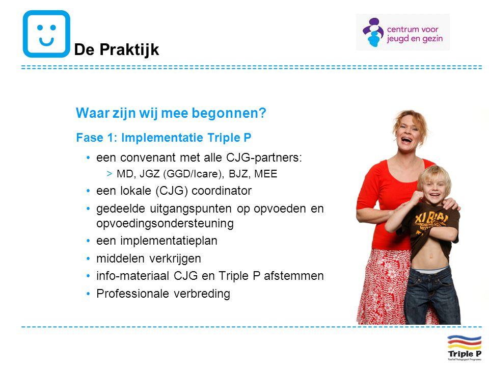 De Praktijk Waar zijn wij mee begonnen? Fase 1: Implementatie Triple P een convenant met alle CJG-partners: >MD, JGZ (GGD/Icare), BJZ, MEE een lokale