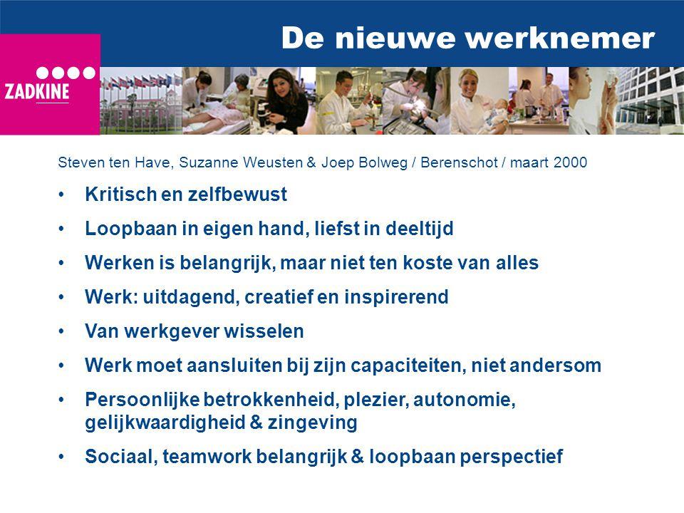 De nieuwe werknemer Steven ten Have, Suzanne Weusten & Joep Bolweg / Berenschot / maart 2000 Kritisch en zelfbewust Loopbaan in eigen hand, liefst in