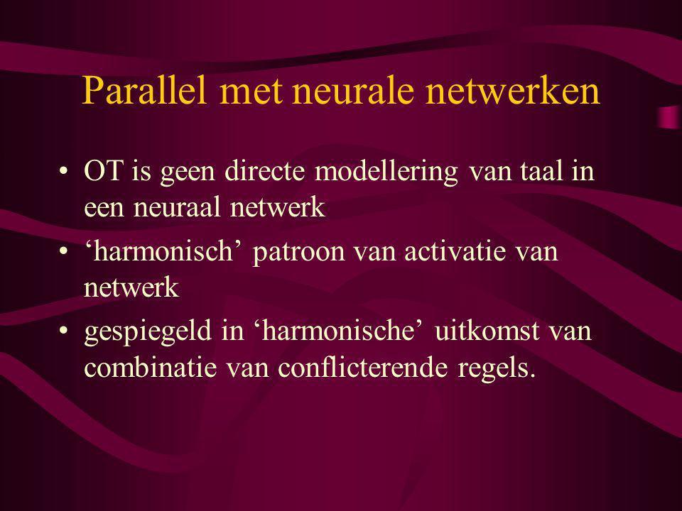 Parallel met neurale netwerken OT is geen directe modellering van taal in een neuraal netwerk 'harmonisch' patroon van activatie van netwerk gespiegel