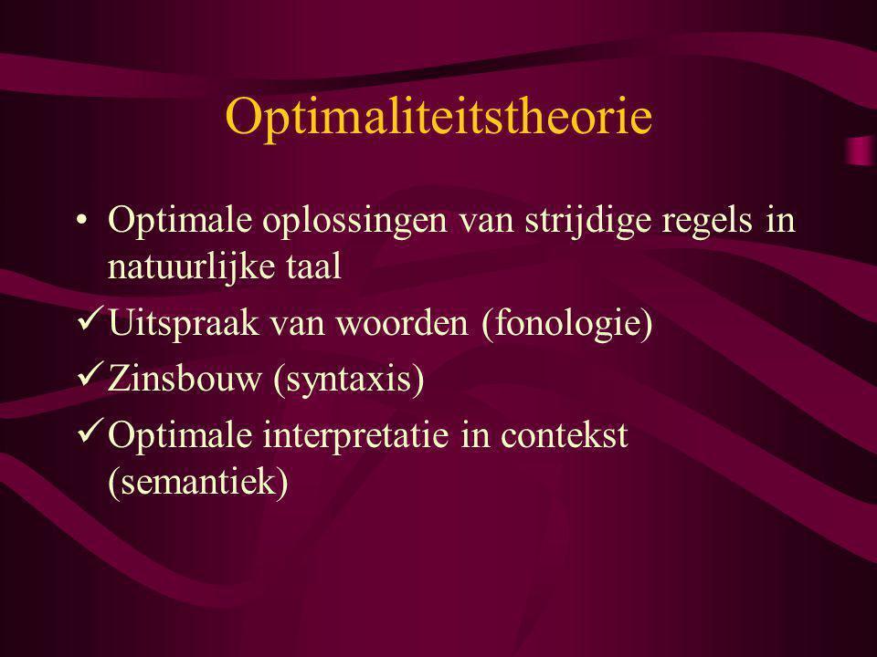 Optimaliteitstheorie Optimale oplossingen van strijdige regels in natuurlijke taal Uitspraak van woorden (fonologie) Zinsbouw (syntaxis) Optimale inte