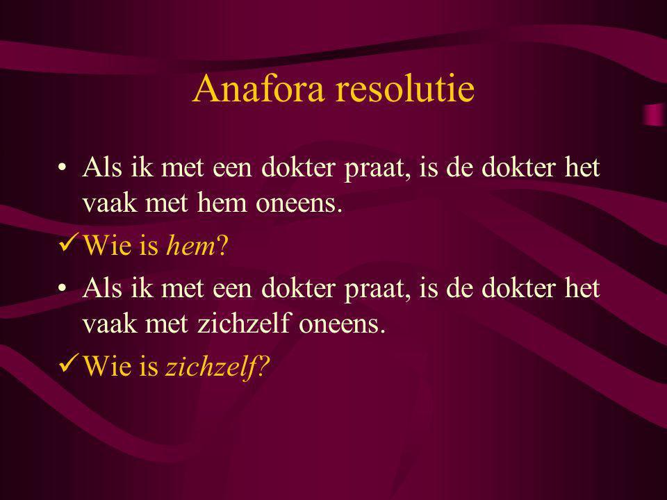 Anafora resolutie Als ik met een dokter praat, is de dokter het vaak met hem oneens. Wie is hem? Als ik met een dokter praat, is de dokter het vaak me