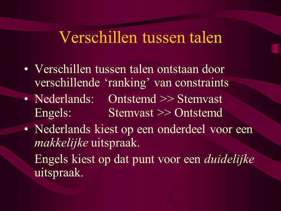 Verschillen tussen talen Verschillen tussen talen ontstaan door verschillende 'ranking' van constraints Nederlands:Ontstemd >> Stemvast Engels:Stemvas