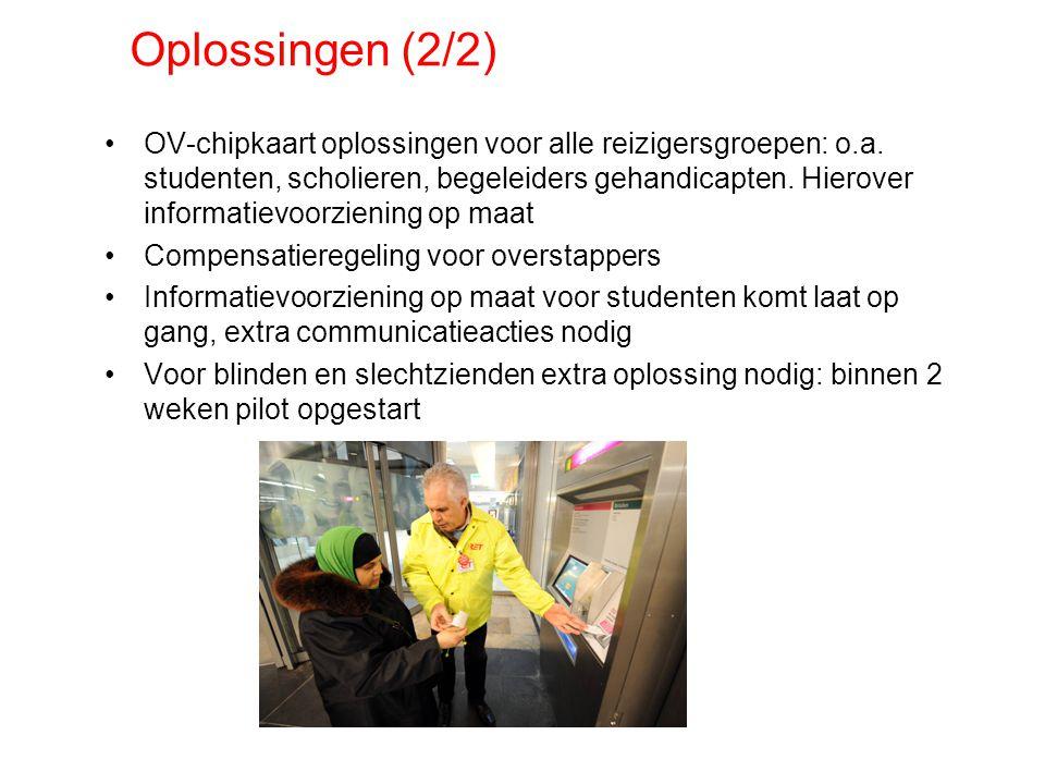 Oplossingen (2/2) OV-chipkaart oplossingen voor alle reizigersgroepen: o.a.