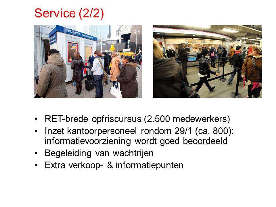 Service (2/2) RET-brede opfriscursus (2.500 medewerkers) Inzet kantoorpersoneel rondom 29/1 (ca. 800): informatievoorziening wordt goed beoordeeld Beg