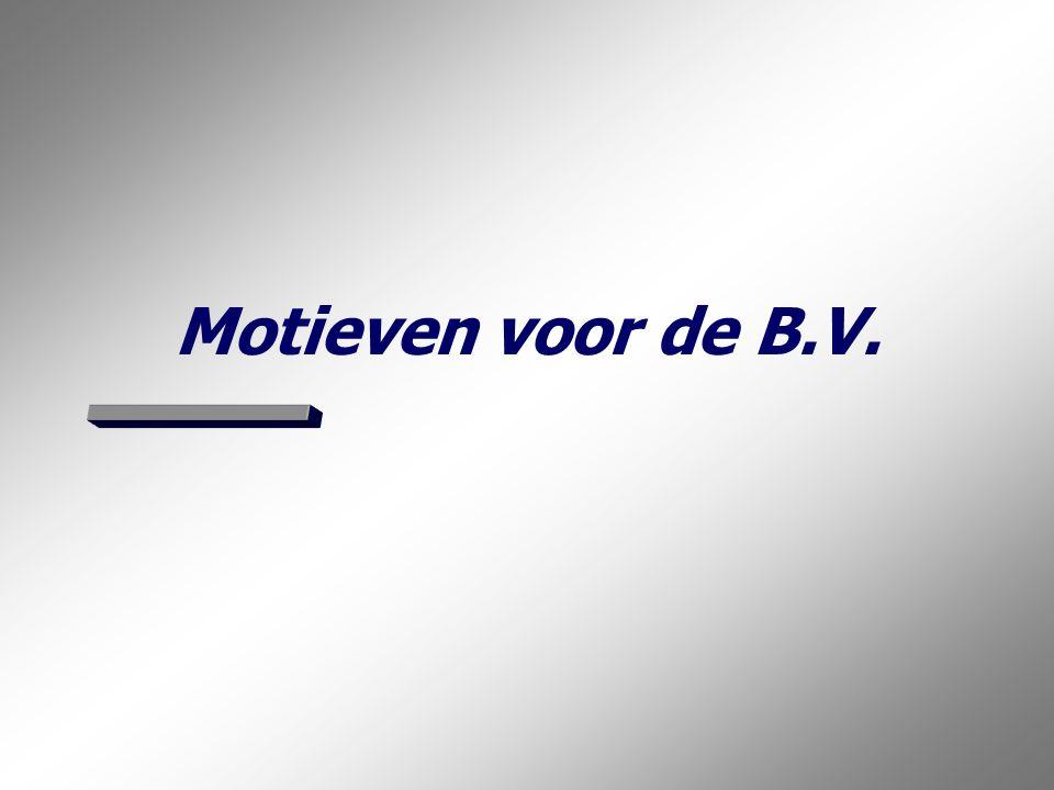 De juiste rechtsvorm: In of uit de B.V.? 26 Rsp-heid: Geen rsp: Gemene naam: Eigen naam: OVzR VA:BA: NOV VA:BA: CVzR CVR OVR Komend systeem van pvs: