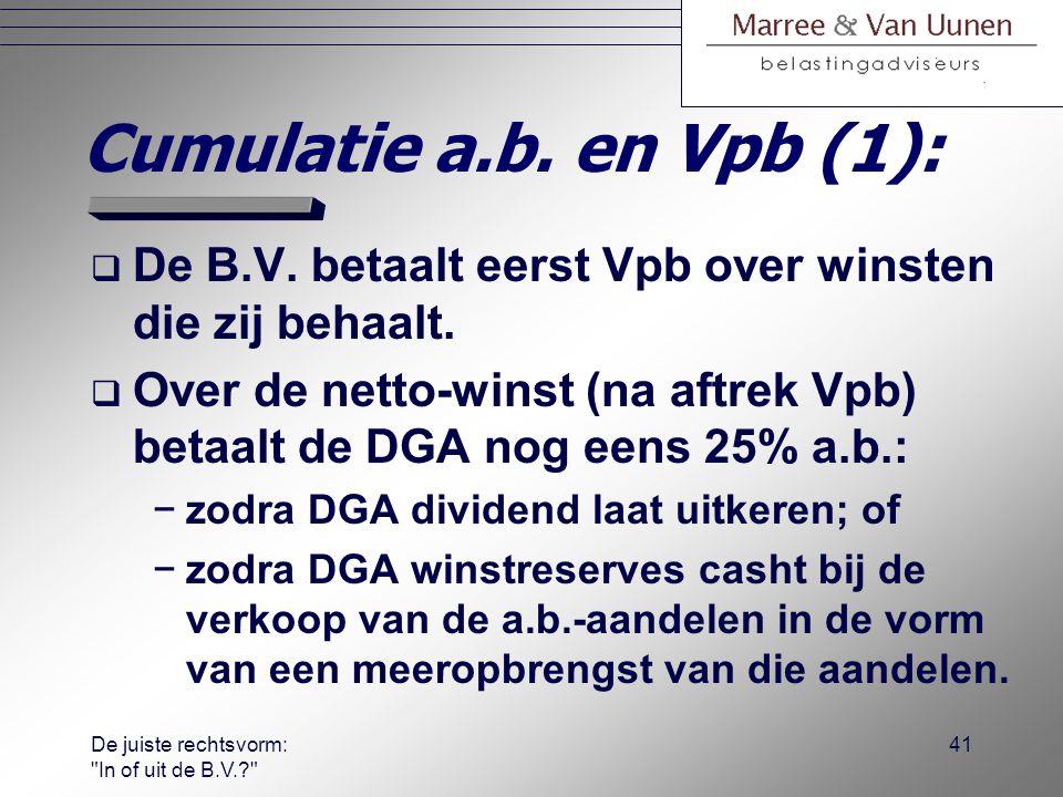 De juiste rechtsvorm: In of uit de B.V.? 40 Andere motieven:  Sociaalrechtelijke motieven (verzeke- ringsplicht i.g.v.