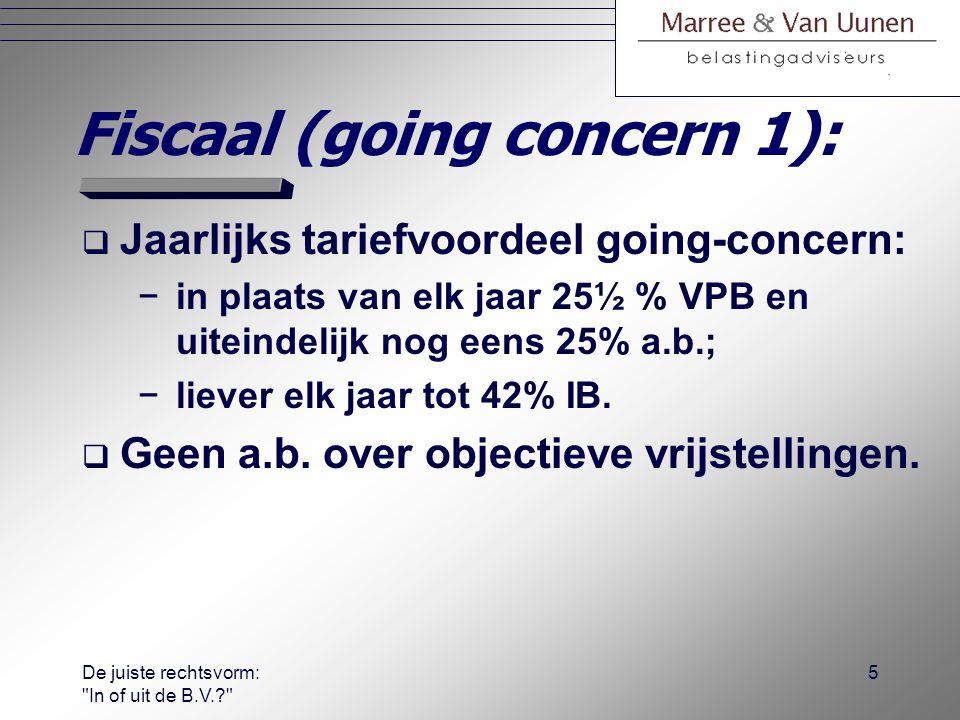 De juiste rechtsvorm: In of uit de B.V.? 4 Fiscaal (bij start):  WASO.
