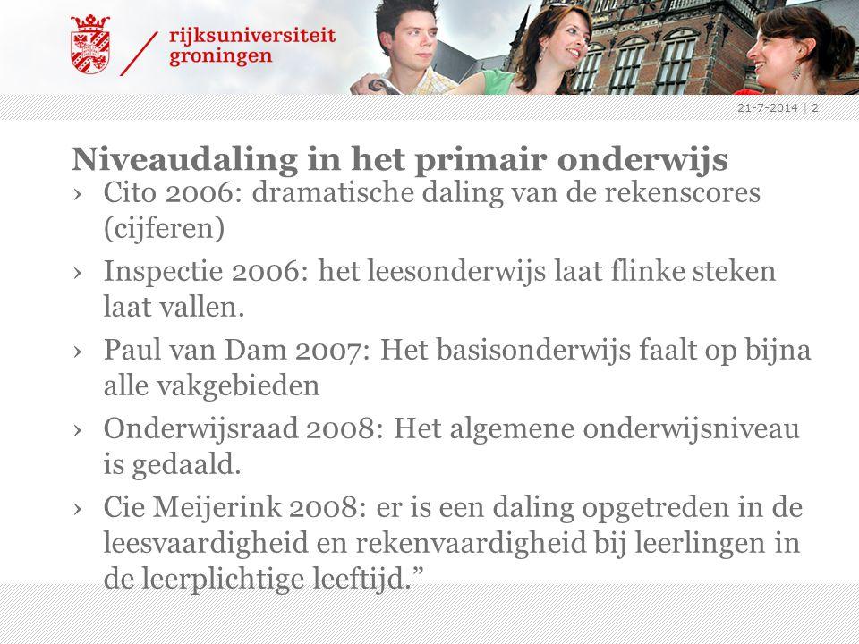 Niveaudaling in het primair onderwijs ›Cito 2006: dramatische daling van de rekenscores (cijferen) ›Inspectie 2006: het leesonderwijs laat flinke steken laat vallen.
