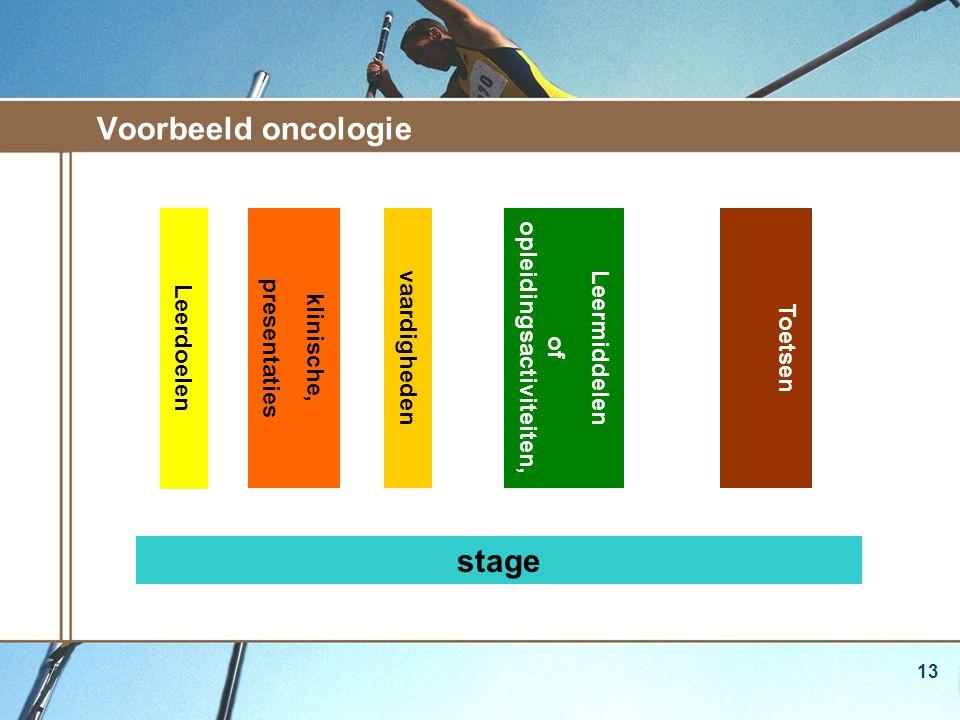 13 Voorbeeld oncologie klinische, presentaties vaardighedenLeermiddelen of opleidingsactiviteiten, Toetsen stage Leerdoelen