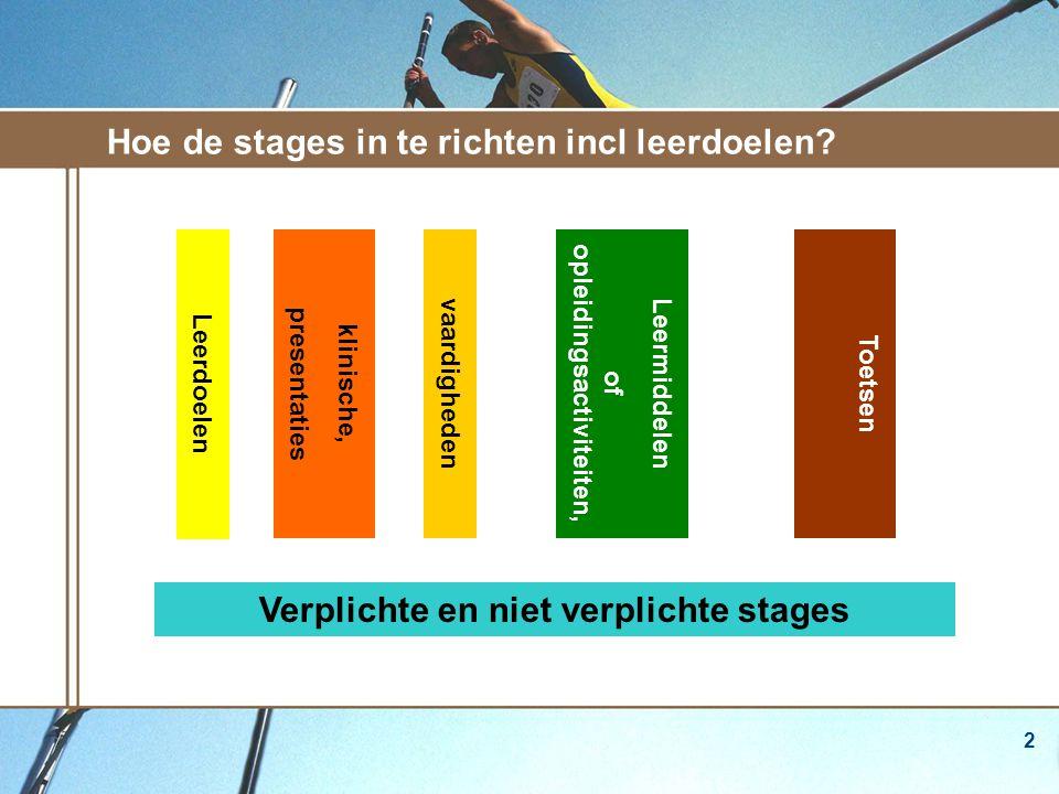 2 Hoe de stages in te richten incl leerdoelen.
