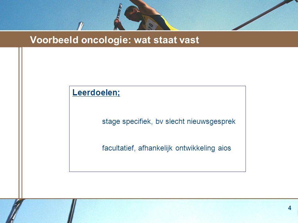 4 Voorbeeld oncologie: wat staat vast Leerdoelen; stage specifiek, bv slecht nieuwsgesprek facultatief, afhankelijk ontwikkeling aios zwelling in de hals klachten