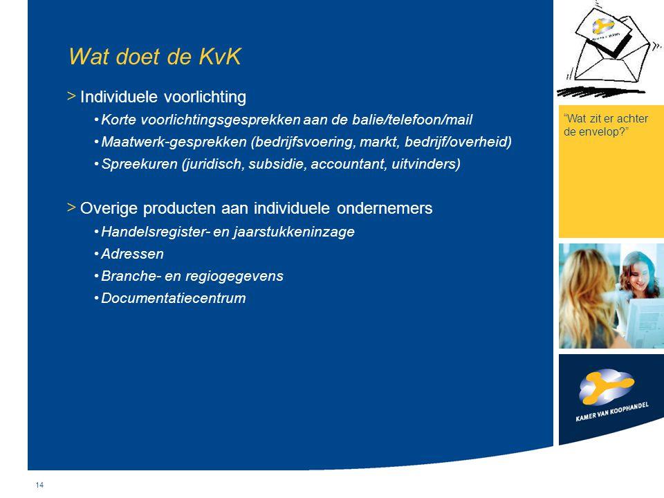 14 Wat doet de KvK > Individuele voorlichting Korte voorlichtingsgesprekken aan de balie/telefoon/mail Maatwerk-gesprekken (bedrijfsvoering, markt, be