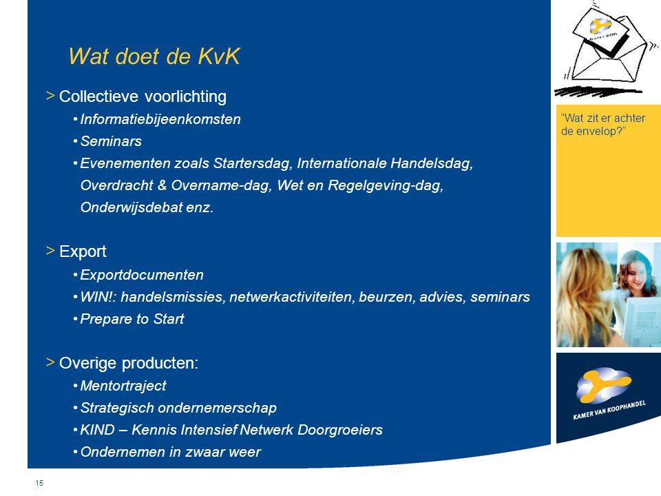 15 Wat doet de KvK > Collectieve voorlichting Informatiebijeenkomsten Seminars Evenementen zoals Startersdag, Internationale Handelsdag, Overdracht &