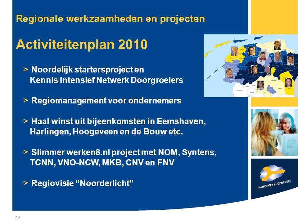19 Regionale werkzaamheden en projecten Activiteitenplan 2010 > Noordelijk startersproject en Kennis Intensief Netwerk Doorgroeiers > Regiomanagement