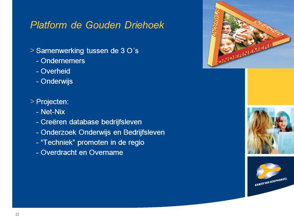 22 Platform de Gouden Driehoek > Samenwerking tussen de 3 O´s - Ondernemers - Overheid - Onderwijs > Projecten: - Net-Nix - Creëren database bedrijfsl