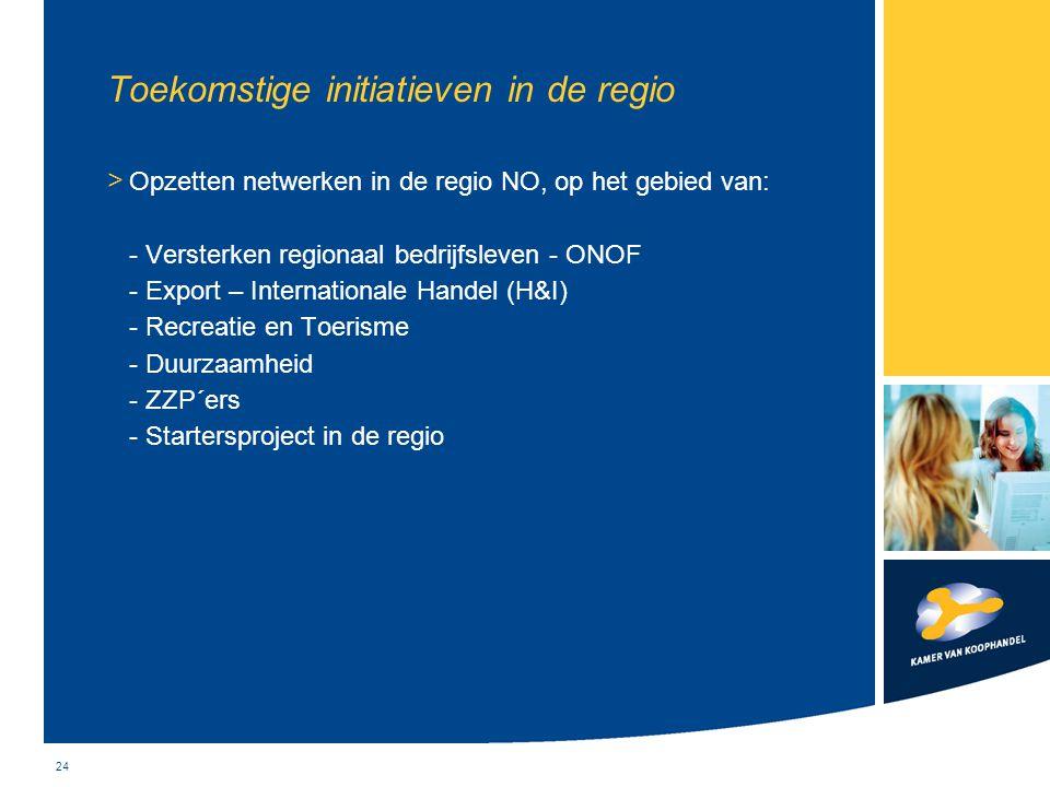 24 Toekomstige initiatieven in de regio > Opzetten netwerken in de regio NO, op het gebied van: - Versterken regionaal bedrijfsleven - ONOF - Export –