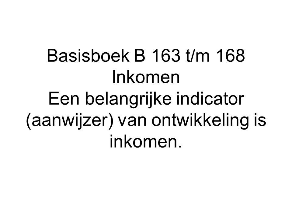 Basisboek B 163 t/m 168 Inkomen Een belangrijke indicator (aanwijzer) van ontwikkeling is inkomen.