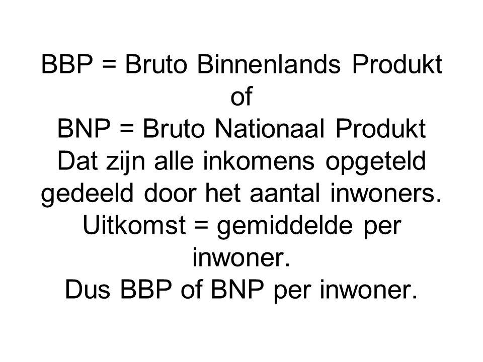 BBP = Bruto Binnenlands Produkt of BNP = Bruto Nationaal Produkt Dat zijn alle inkomens opgeteld gedeeld door het aantal inwoners. Uitkomst = gemiddel