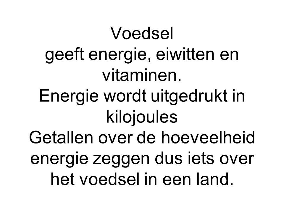 Voedsel geeft energie, eiwitten en vitaminen. Energie wordt uitgedrukt in kilojoules Getallen over de hoeveelheid energie zeggen dus iets over het voe