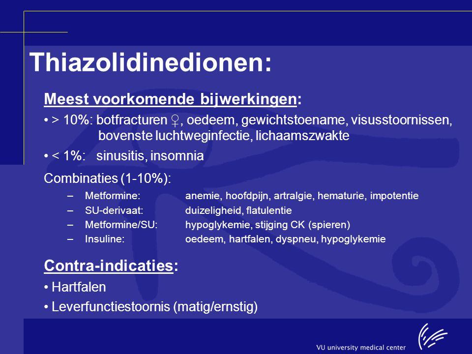 Thiazolidinedionen: Meest voorkomende bijwerkingen: > 10%: botfracturen ♀, oedeem, gewichtstoename, visusstoornissen, bovenste luchtweginfectie, licha