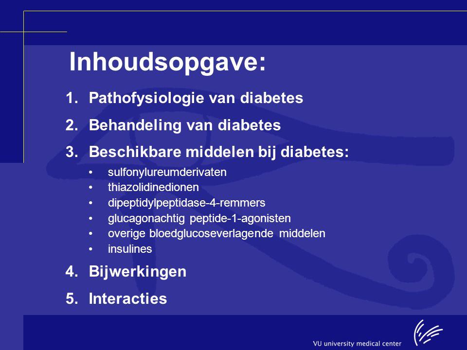 Inhoudsopgave: 1.Pathofysiologie van diabetes 2.Behandeling van diabetes 3.Beschikbare middelen bij diabetes: sulfonylureumderivaten thiazolidinedione