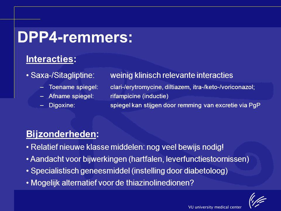 Interacties: Saxa-/Sitagliptine:weinig klinisch relevante interacties –Toename spiegel:clari-/erytromycine, diltiazem, itra-/keto-/voriconazol; –Afnam