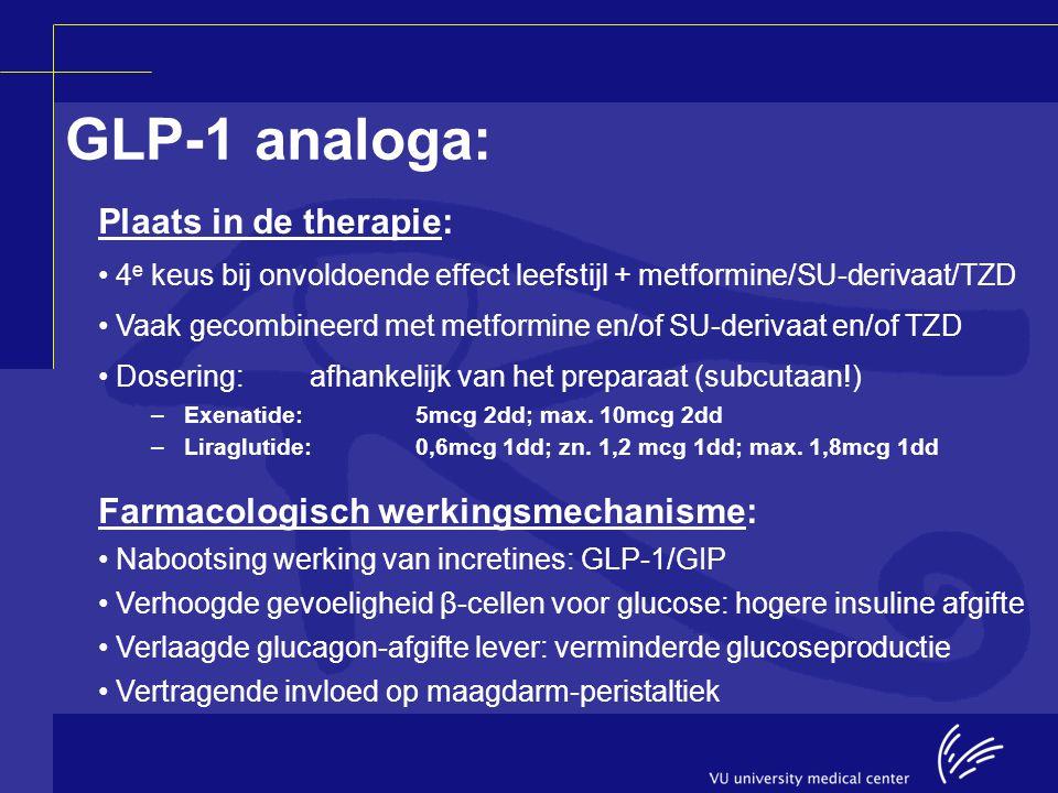 Plaats in de therapie: 4 e keus bij onvoldoende effect leefstijl + metformine/SU-derivaat/TZD Vaak gecombineerd met metformine en/of SU-derivaat en/of