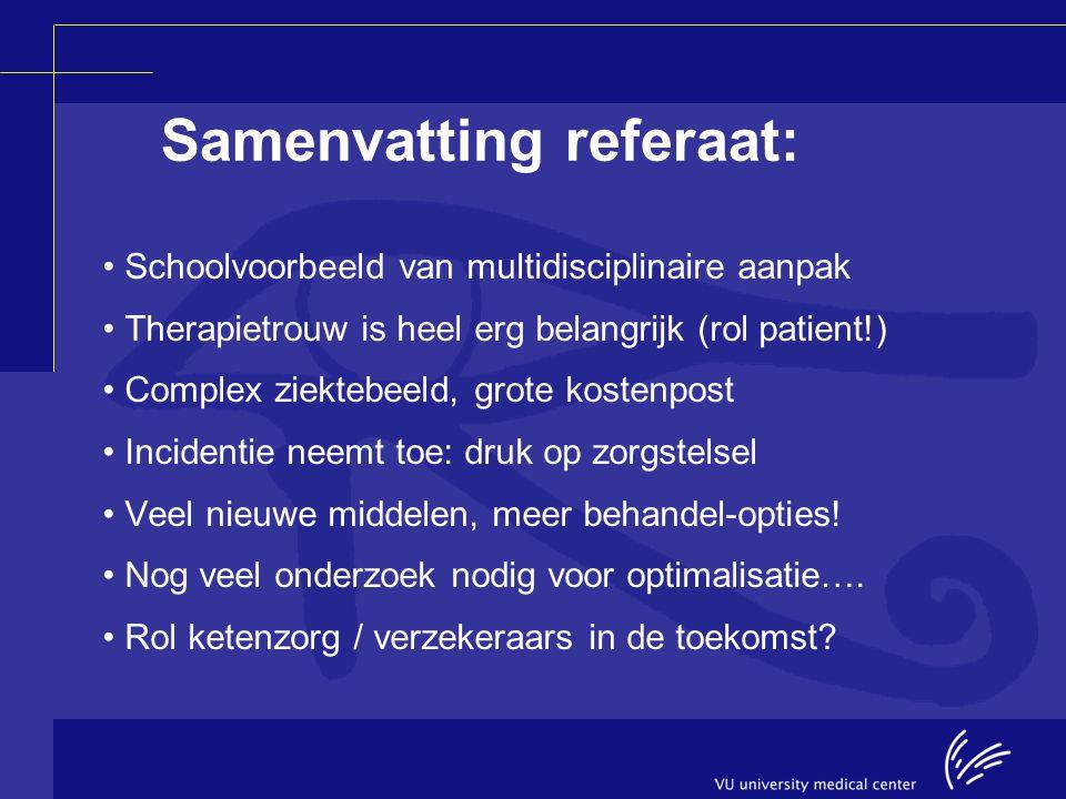 Samenvatting referaat: Schoolvoorbeeld van multidisciplinaire aanpak Therapietrouw is heel erg belangrijk (rol patient!) Complex ziektebeeld, grote ko