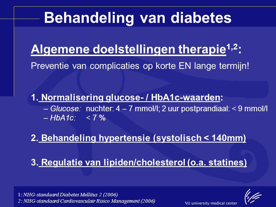 Behandeling van diabetes Algemene doelstellingen therapie 1,2 : Preventie van complicaties op korte EN lange termijn! 1. Normalisering glucose- / HbA1