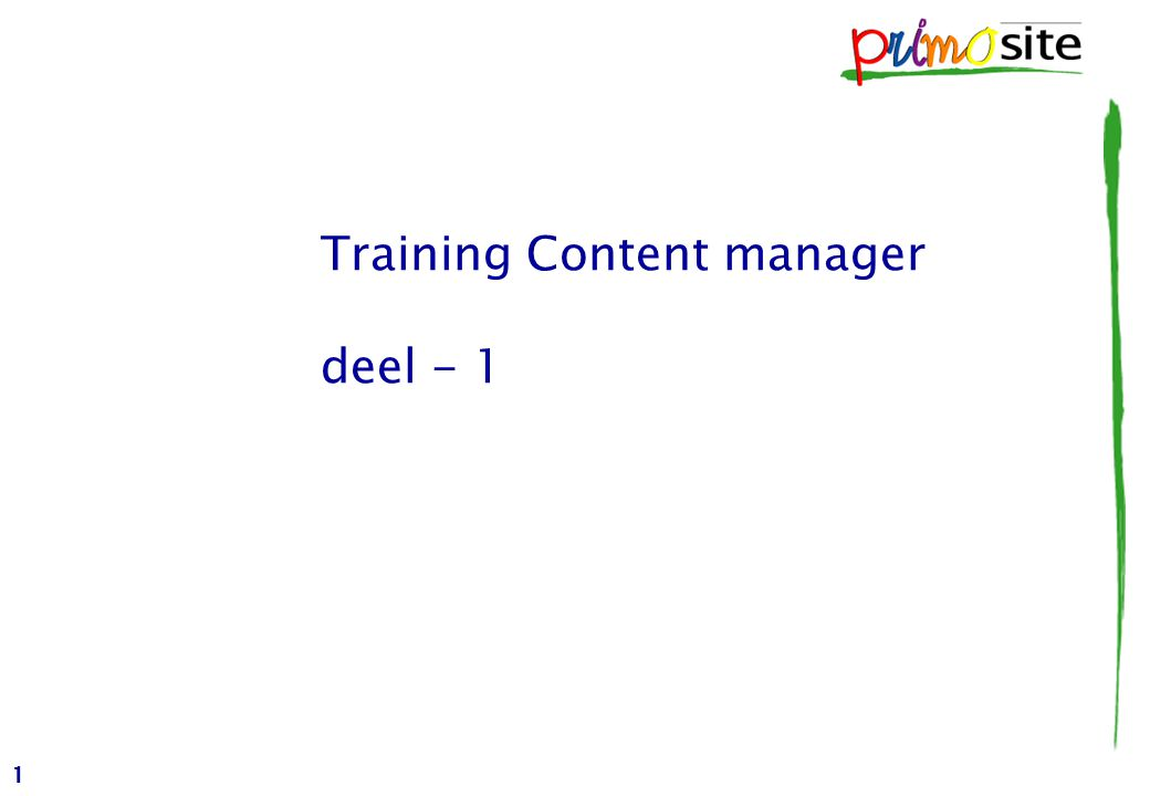 1 Training Content manager deel - 1