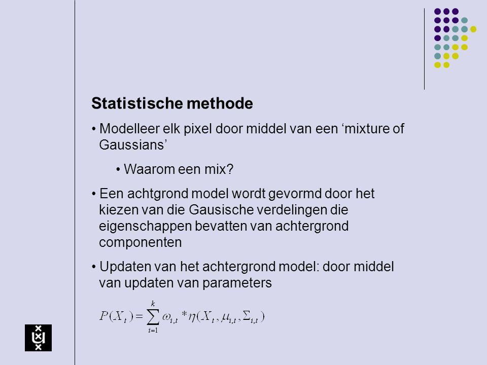 Statistische methode Modelleer elk pixel door middel van een 'mixture of Gaussians' Waarom een mix? Een achtgrond model wordt gevormd door het kiezen