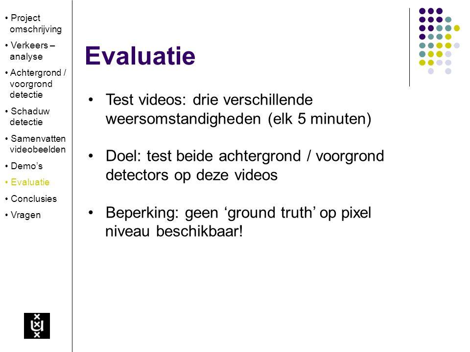 Evaluatie Test videos: drie verschillende weersomstandigheden (elk 5 minuten) Doel: test beide achtergrond / voorgrond detectors op deze videos Beperking: geen 'ground truth' op pixel niveau beschikbaar.