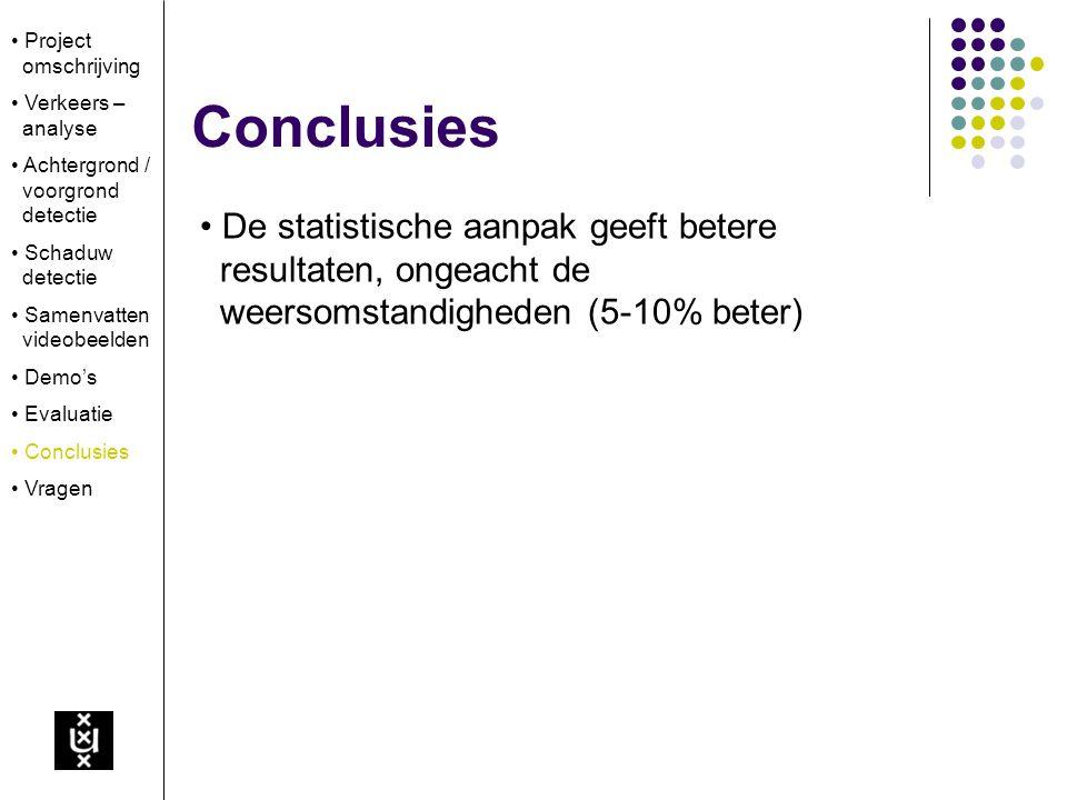 Conclusies De statistische aanpak geeft betere resultaten, ongeacht de weersomstandigheden (5-10% beter) Project omschrijving Verkeers – analyse Achte