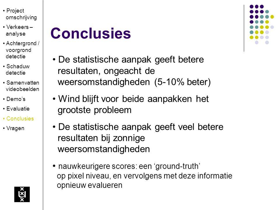 Conclusies De statistische aanpak geeft betere resultaten, ongeacht de weersomstandigheden (5-10% beter) Wind blijft voor beide aanpakken het grootste