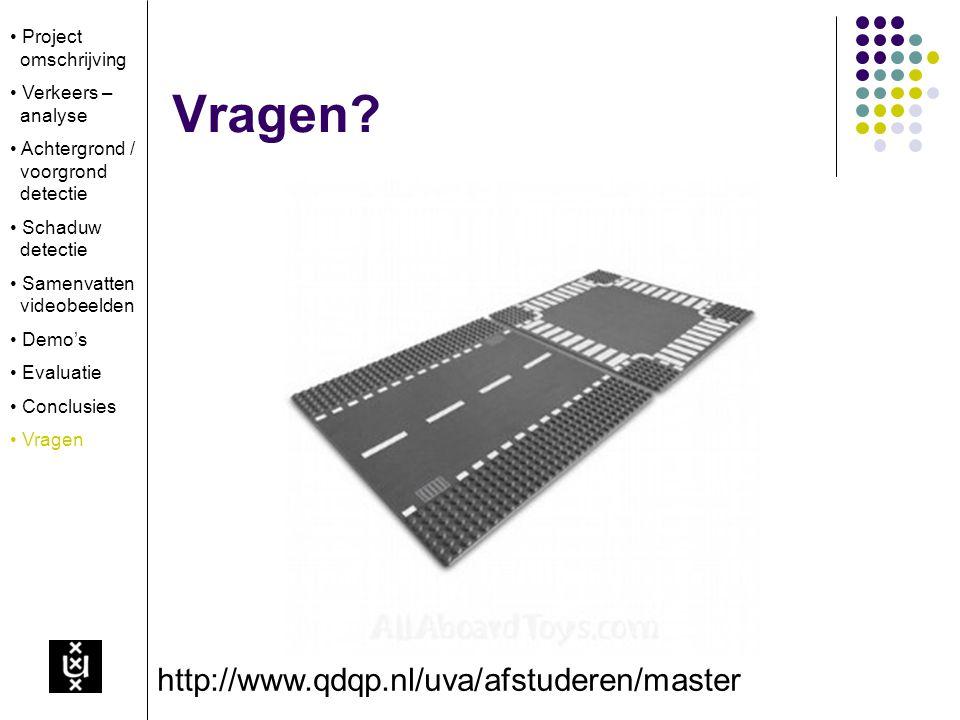 Vragen? http://www.qdqp.nl/uva/afstuderen/master Project omschrijving Verkeers – analyse Achtergrond / voorgrond detectie Schaduw detectie Samenvatten