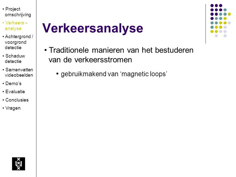 Verkeersanalyse Project omschrijving Verkeers – analyse Achtergrond / voorgrond detectie Schaduw detectie Samenvatten videobeelden Demo's Evaluatie Co