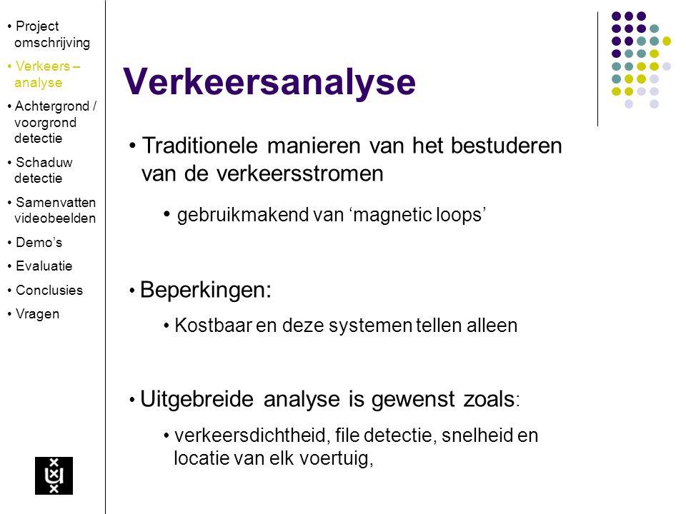 Project omschrijving Verkeers – analyse Achtergrond / voorgrond detectie Schaduw detectie Samenvatten videobeelden Demo's Evaluatie Conclusies Vragen