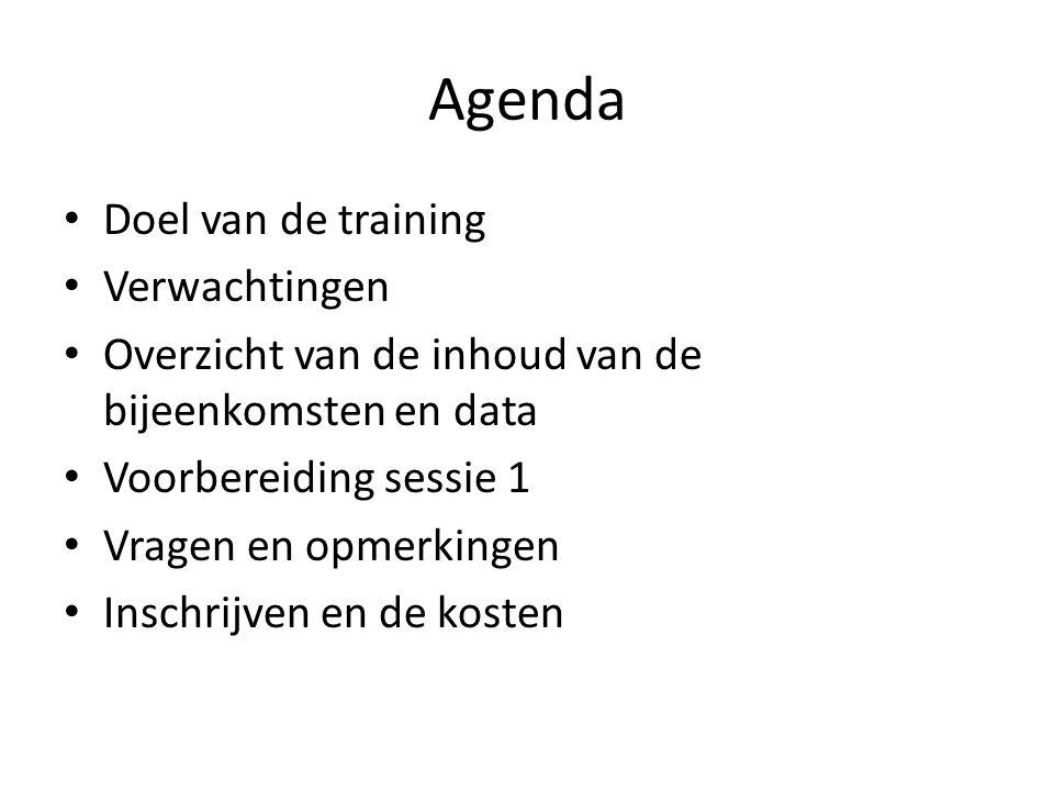 Agenda Doel van de training Verwachtingen Overzicht van de inhoud van de bijeenkomsten en data Voorbereiding sessie 1 Vragen en opmerkingen Inschrijven en de kosten