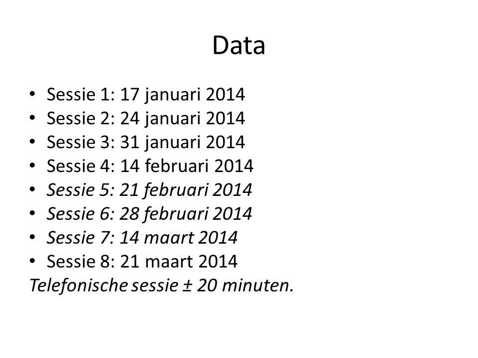 Data Sessie 1: 17 januari 2014 Sessie 2: 24 januari 2014 Sessie 3: 31 januari 2014 Sessie 4: 14 februari 2014 Sessie 5: 21 februari 2014 Sessie 6: 28 februari 2014 Sessie 7: 14 maart 2014 Sessie 8: 21 maart 2014 Telefonische sessie ± 20 minuten.
