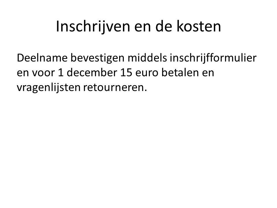 Inschrijven en de kosten Deelname bevestigen middels inschrijfformulier en voor 1 december 15 euro betalen en vragenlijsten retourneren.