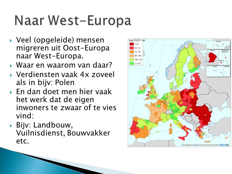  Veel (opgeleide) mensen migreren uit Oost-Europa naar West-Europa.  Waar en waarom van daar?  Verdiensten vaak 4x zoveel als in bijv: Polen  En d