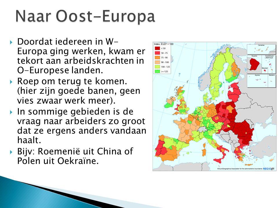  Doordat iedereen in W- Europa ging werken, kwam er tekort aan arbeidskrachten in O-Europese landen.  Roep om terug te komen. (hier zijn goede banen