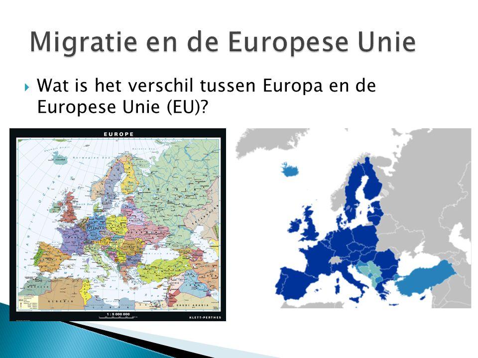  Wat is het verschil tussen Europa en de Europese Unie (EU)?