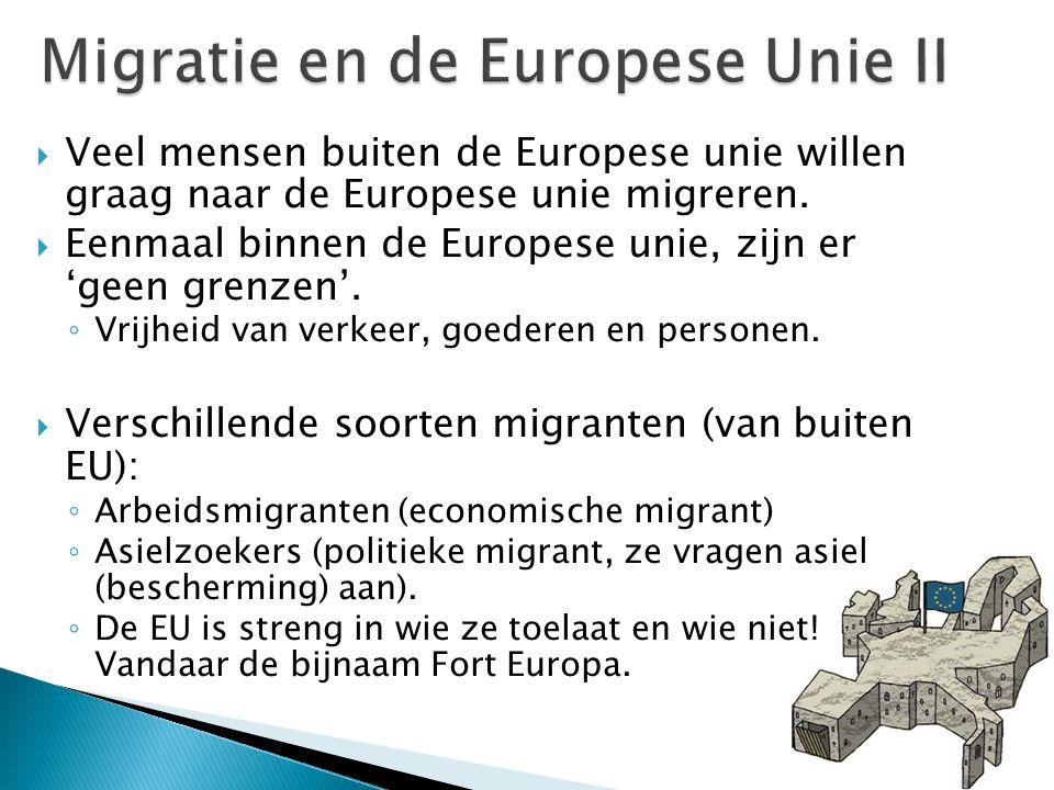 Veel mensen buiten de Europese unie willen graag naar de Europese unie migreren.  Eenmaal binnen de Europese unie, zijn er 'geen grenzen'. ◦ Vrijhe