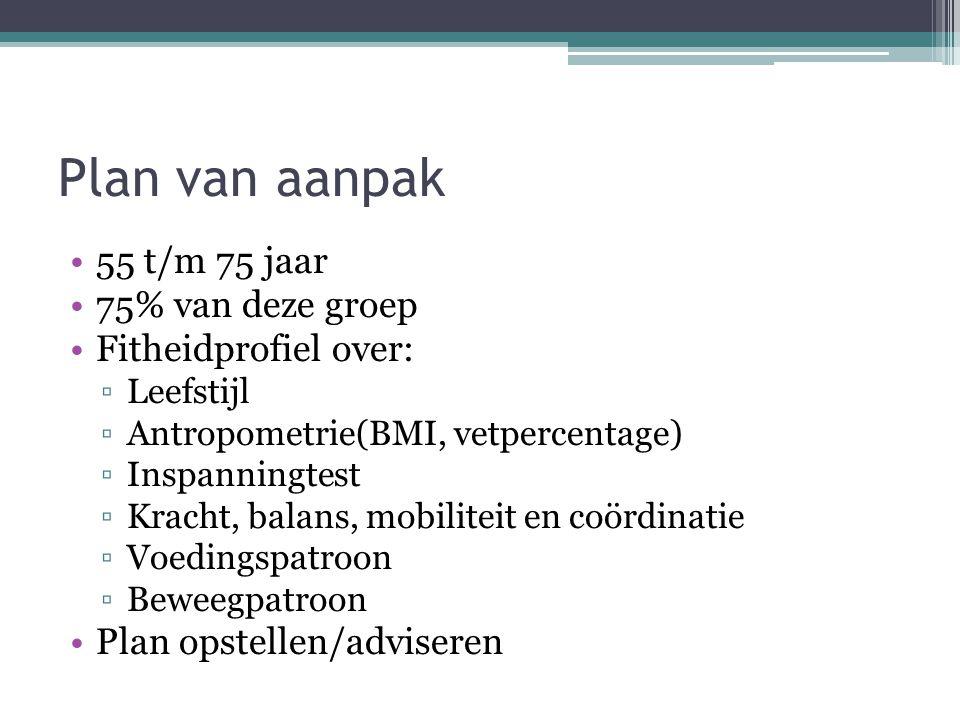 Plan van aanpak 55 t/m 75 jaar 75% van deze groep Fitheidprofiel over: ▫Leefstijl ▫Antropometrie(BMI, vetpercentage) ▫Inspanningtest ▫Kracht, balans,