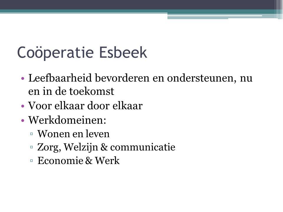 Coöperatie Esbeek Leefbaarheid bevorderen en ondersteunen, nu en in de toekomst Voor elkaar door elkaar Werkdomeinen: ▫Wonen en leven ▫Zorg, Welzijn & communicatie ▫Economie & Werk