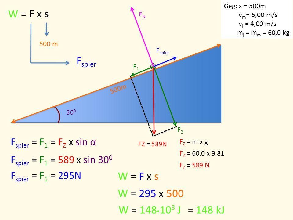 30 0 500m W = F x s 500 m F Z = m x g F Z = 60,0 x 9,81 F Z = 589 N F1F1 F2F2 F spier FNFN F spier = F 1 = F Z x sin α F spier = F 1 = 589 x sin 30 0