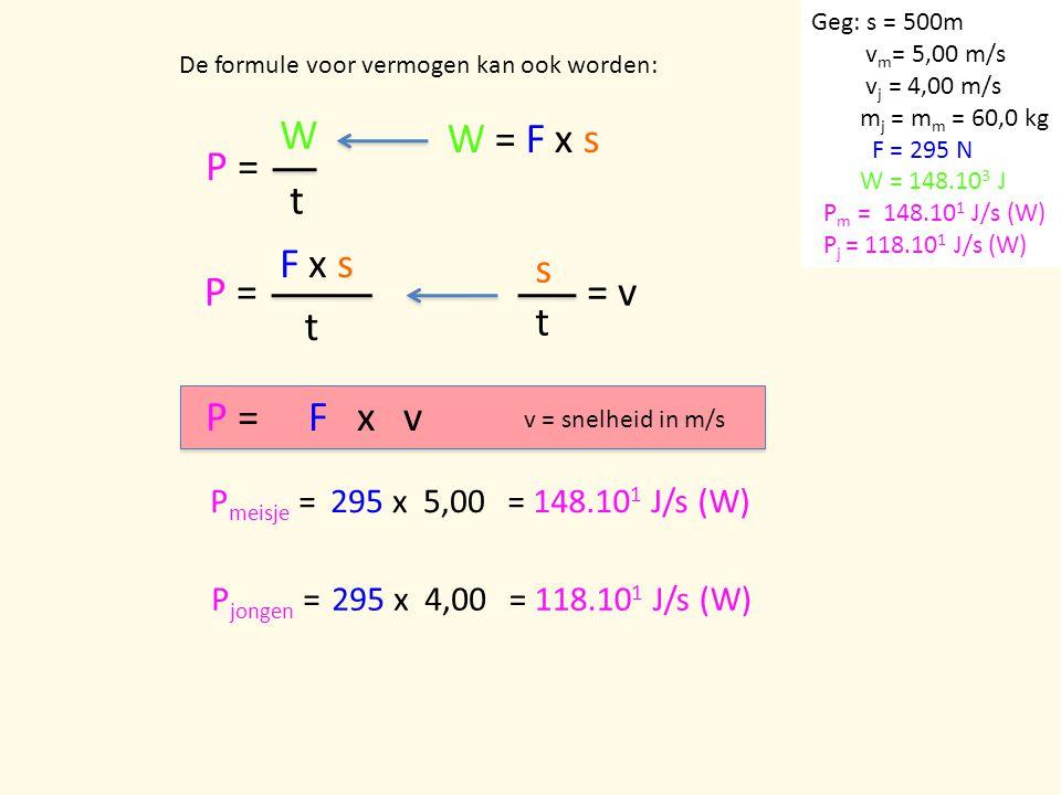 P = W t De formule voor vermogen kan ook worden: P = F x s t W = F x s = v s t P =F x v P meisje =295 x 5,00= 148.10 1 J/s (W) P jongen =295 x 4,00= 1
