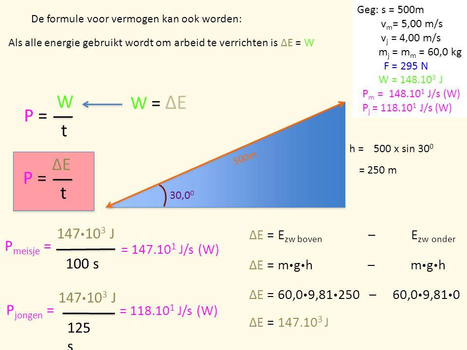 P = W t De formule voor vermogen kan ook worden: W = ΔE Als alle energie gebruikt wordt om arbeid te verrichten is ΔE = W 30,0 0 500m h =500 x sin 30